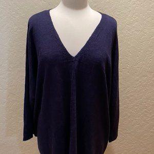 Eileen Fisher linen navy v neck tunic XL